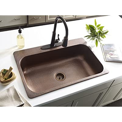 Buy Sinkology Sk101 33ac4 Amz D Angelico 4 Hole Copper Drop In Kitchen Sink Kit With Disposal Flange Copper Kitchen Sink 33 X 22 X 8 Antique Copper Online In Germany B07c9h8ngk