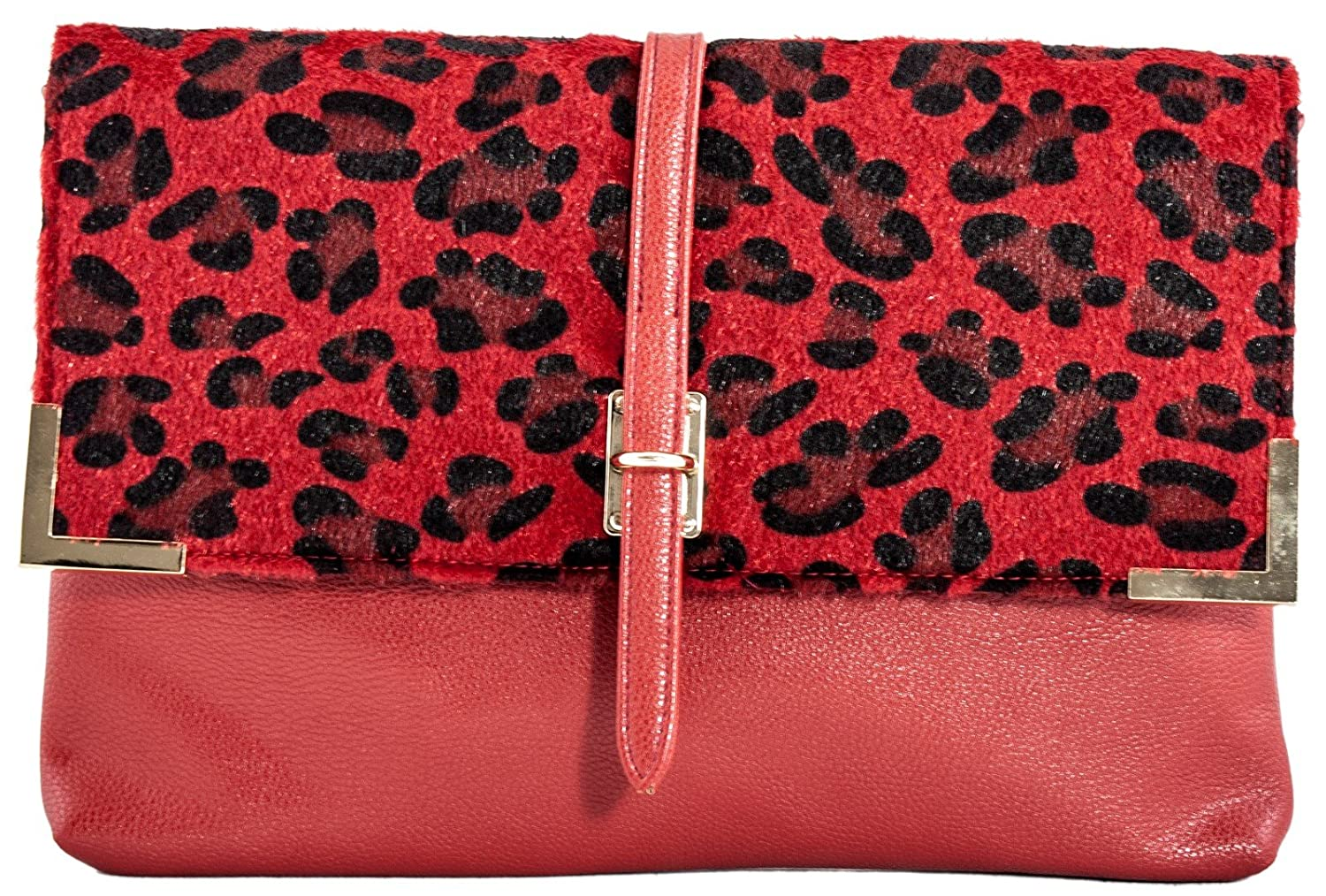 4e8f06a65c17 Girly HandBags New Fur Leopard Clutch Bag Animal Print Furry Leather  Envelope Evening Cheetah Red  Amazon.co.uk  Shoes   Bags