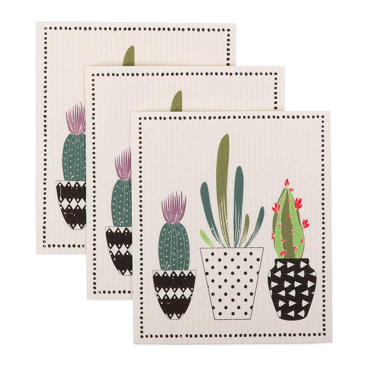 DII CAMZ11079 Swedish Dishcloths, 100% Natural Cellulose, Set of 3, Reusable, Dishwasher and Microwave Safe, Environmentally Friendly Dish Cloths 7.75x6.75 Succulents