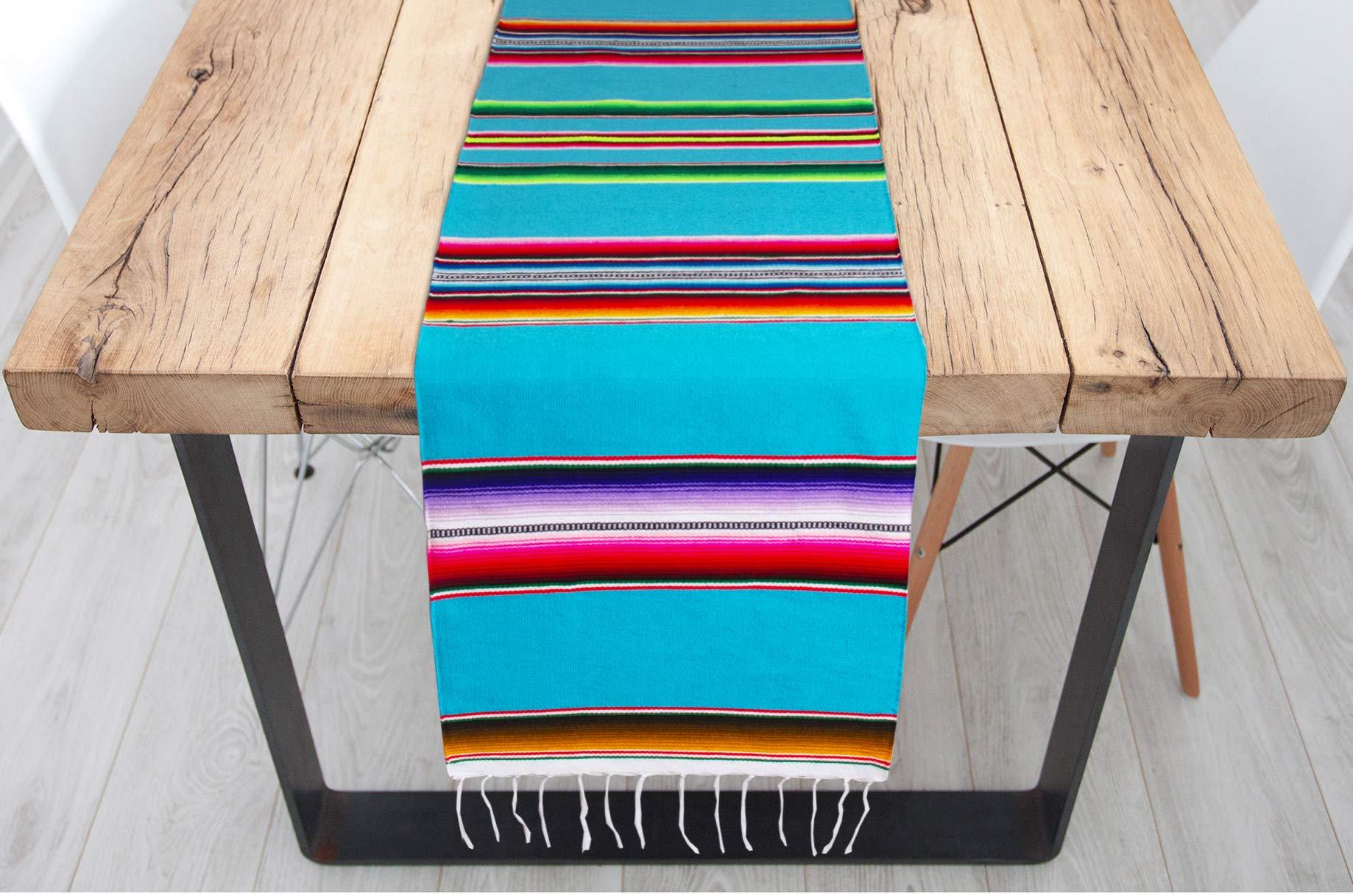Genuine Mexican Premium Handwoven Bright MexicanTable Runner Saltillo Serape Colorful Striped Sarape 60'' x 12'' (Turquoise)