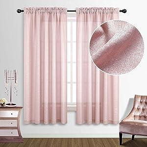 Pink Curtains 63 Inch Length for Teen Girls Room Decor 2 Panels Set Rod Pocket Sheer Semi Blackout Iridescent Silver Sparkle Glam Shimmer Glitter Design Rose Gold Blush Curtain for Bedroom Decorations