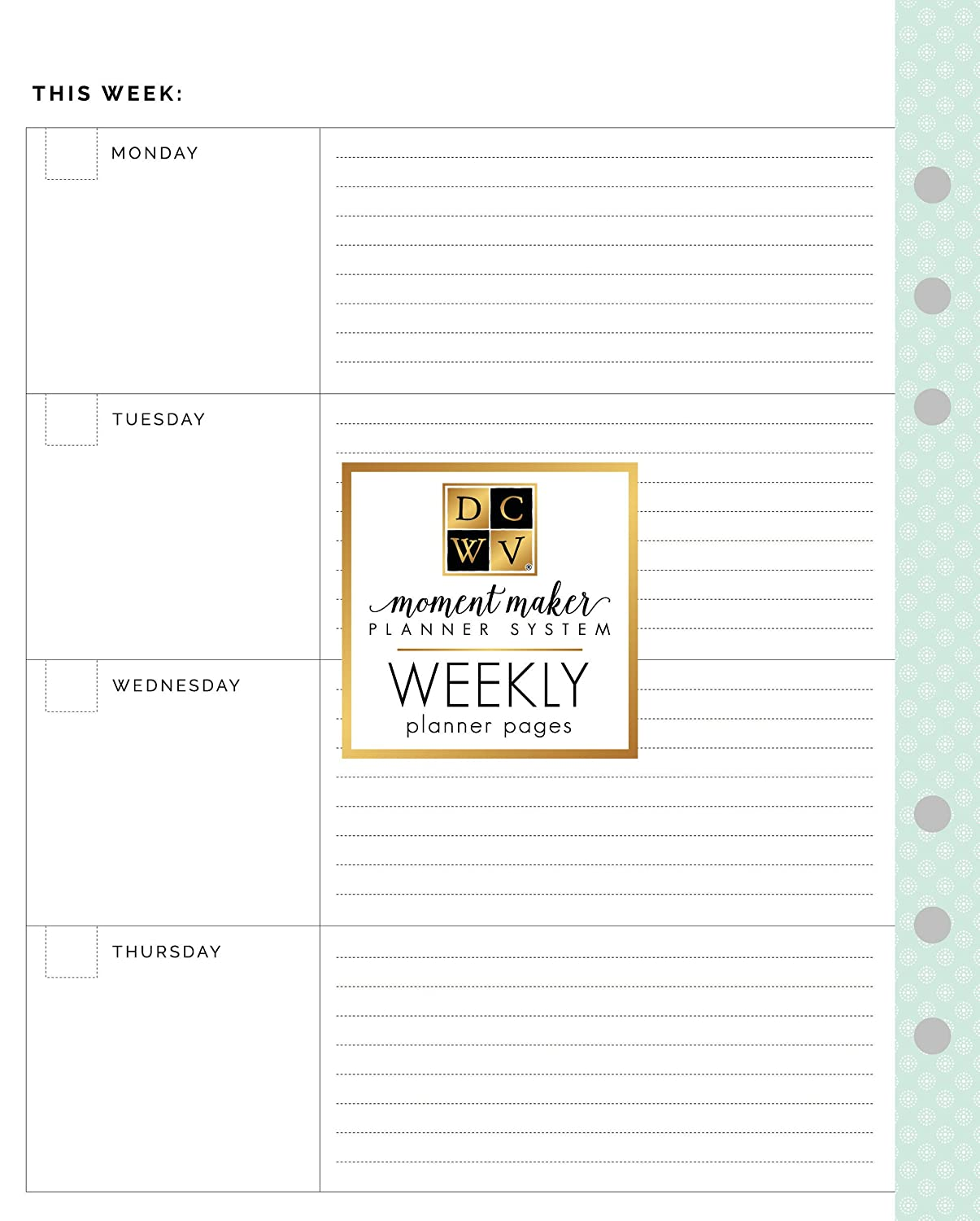 picture relating to Weekly Planner Printables identified as DCWV Minute Producer Weekly Planner Webpages