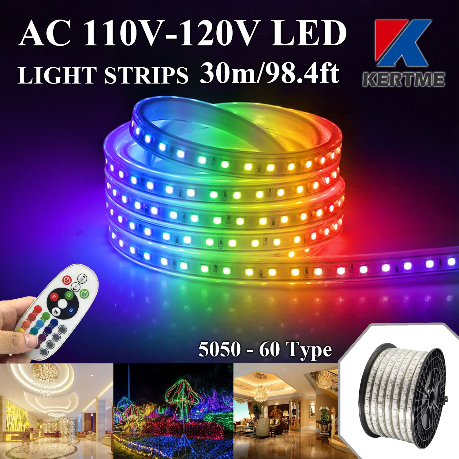 KERTME 5050-60 Type AC 110-120V RGB LED Strip Lights, Flexible/Waterproof/Dimmable/Multi-Colors/Multi-Modes LED Rope Light + 24 Keys Remote for Home/Garden/Building Decoration (98.4ft/30m, RGB)