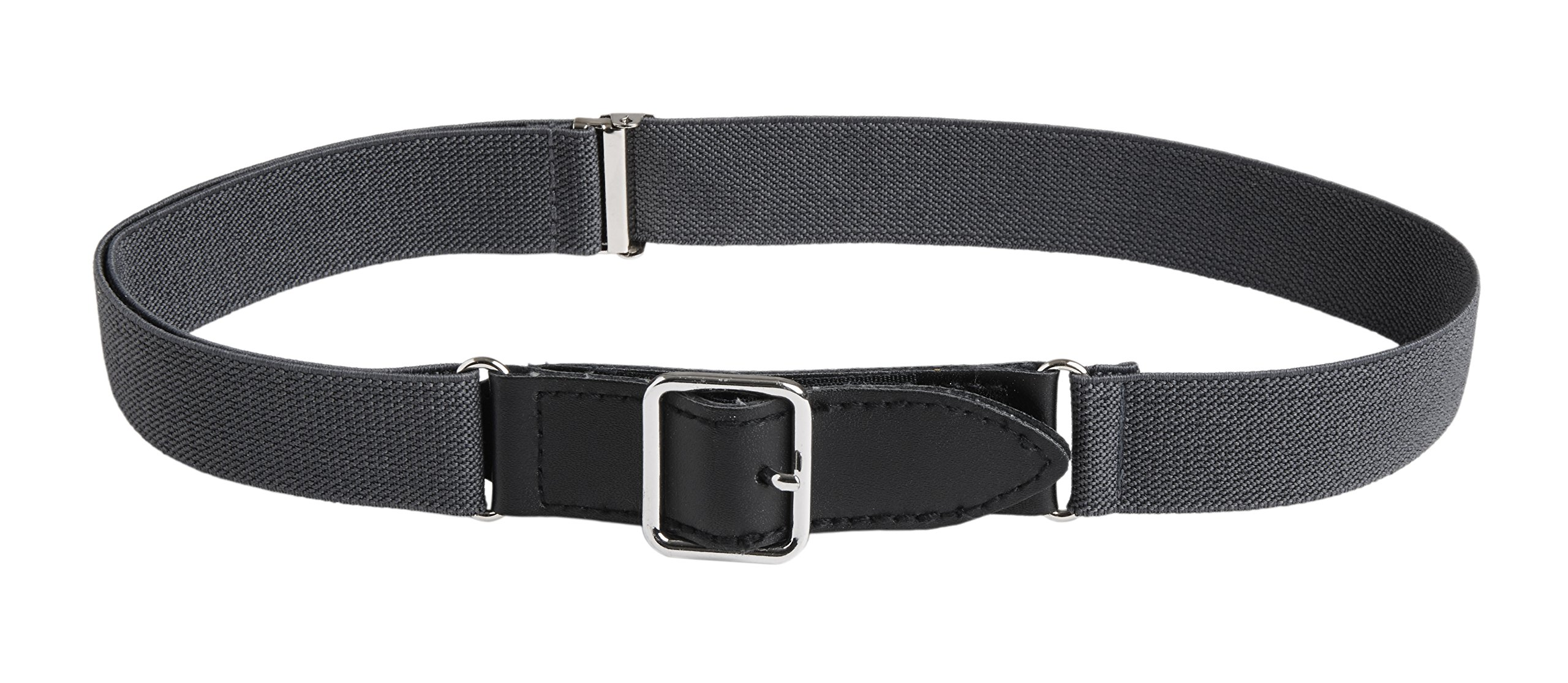 Sportoli8482; Kids Elastic Adjustable Leather Front Stretch Belt with Velcro Closure - Charcoal