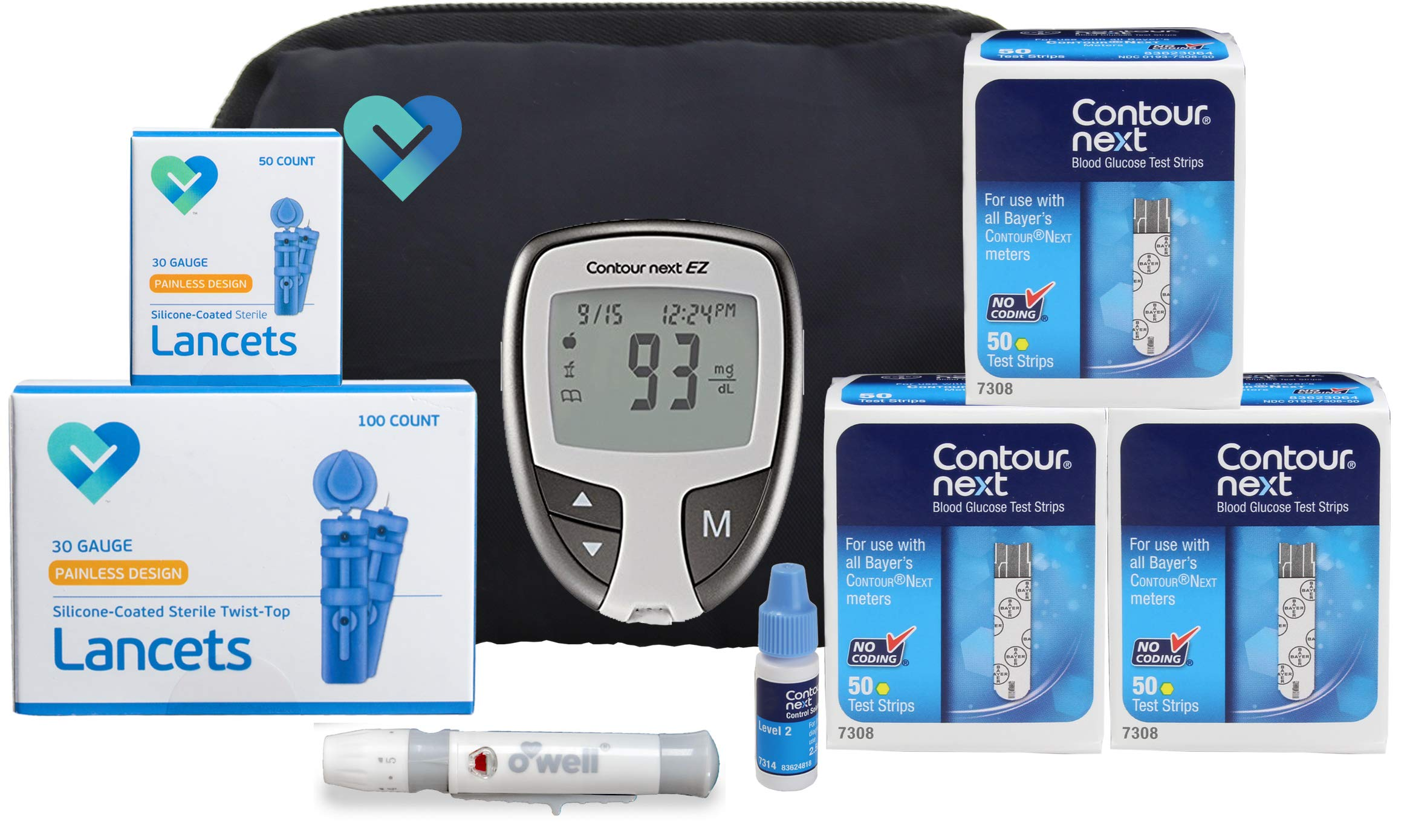 O'WELL Contour NEXT EZ Diabetes Testing Kit | Contour NEXT EZ Meter, 150 Contour NEXT Blood Glucose Test Strips, 150 Lancets, Lancing Device, Control Solution, Log Book, User Manual & Carry Case by OWell (Image #7)