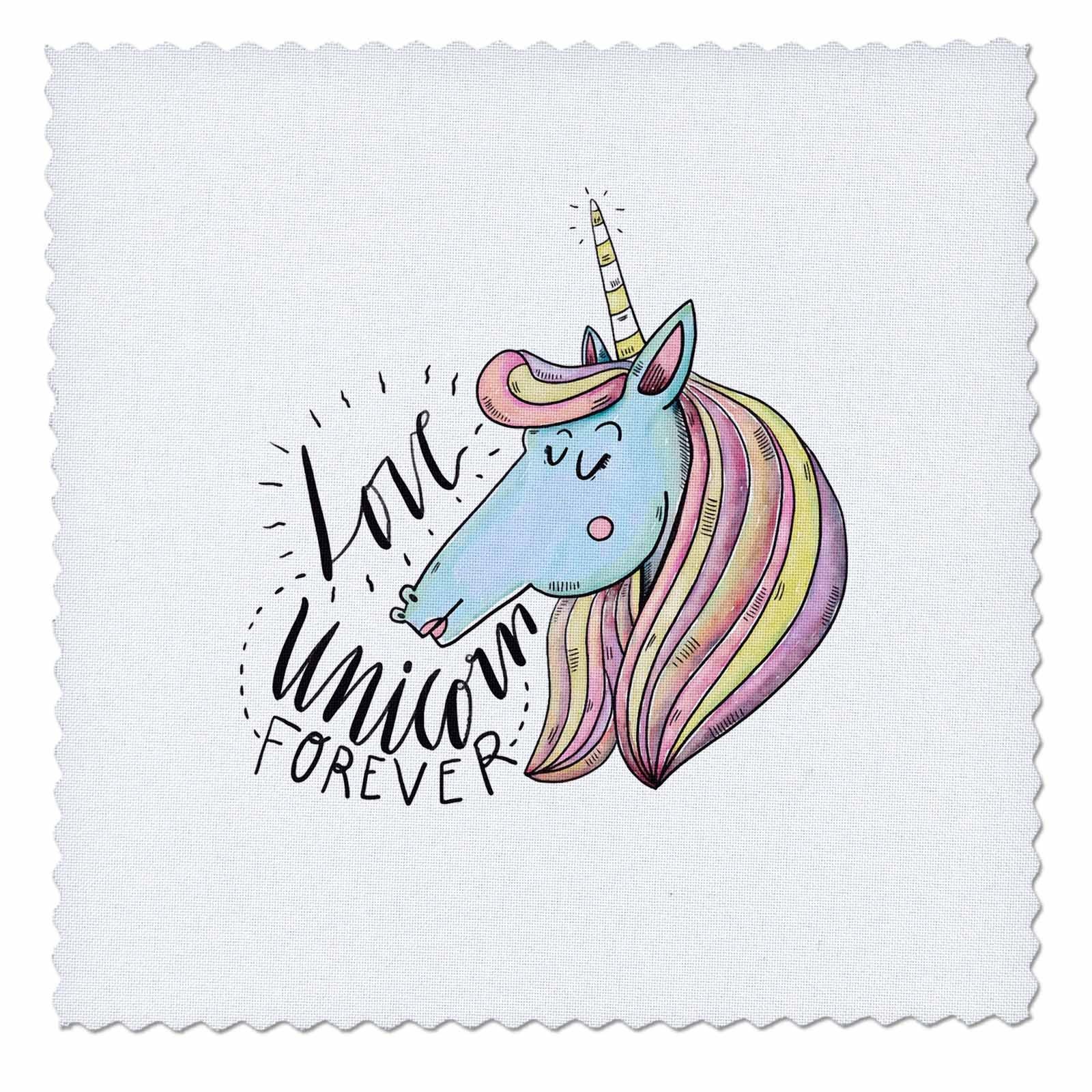 3dRose Sven Herkenrath Animal - Love Unicorn Forever Funny Fantasy Horse - 22x22 inch quilt square (qs_280359_9)