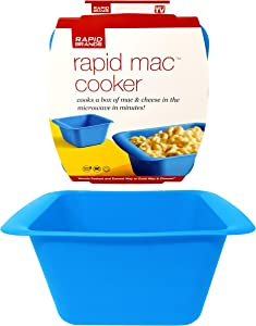 Rapid Mac Cooker | Microwave Macaroni & Cheese in 5 Minutes | Perfect for Dorm, Small Kitchen, or Office | Dishwasher-Safe, Microwaveable, & BPA-Free (Blue)