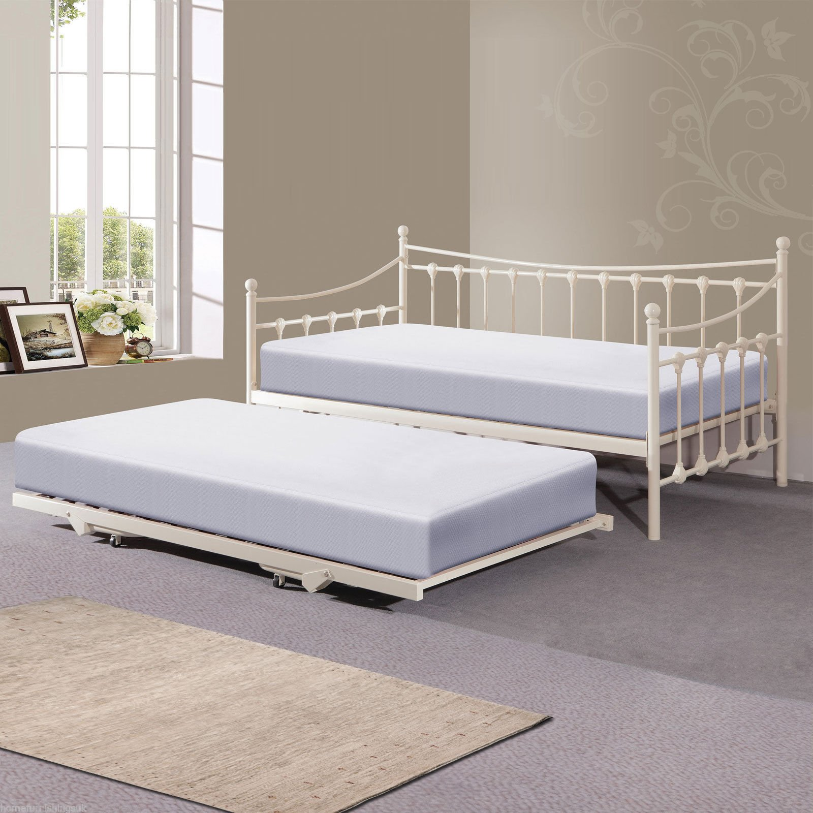 - Hf4you Memphis Day Bed With Trundle - 3FT Single - Ivory - X2