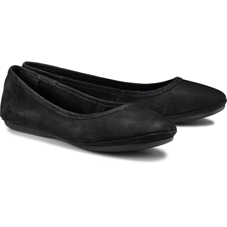 Cox Damen Ballerinas Nubuk Ballerina, Schwarze Leder Ballerinas Damen mit leicht Gepolsterter Innensohle Schwarz c12ac0