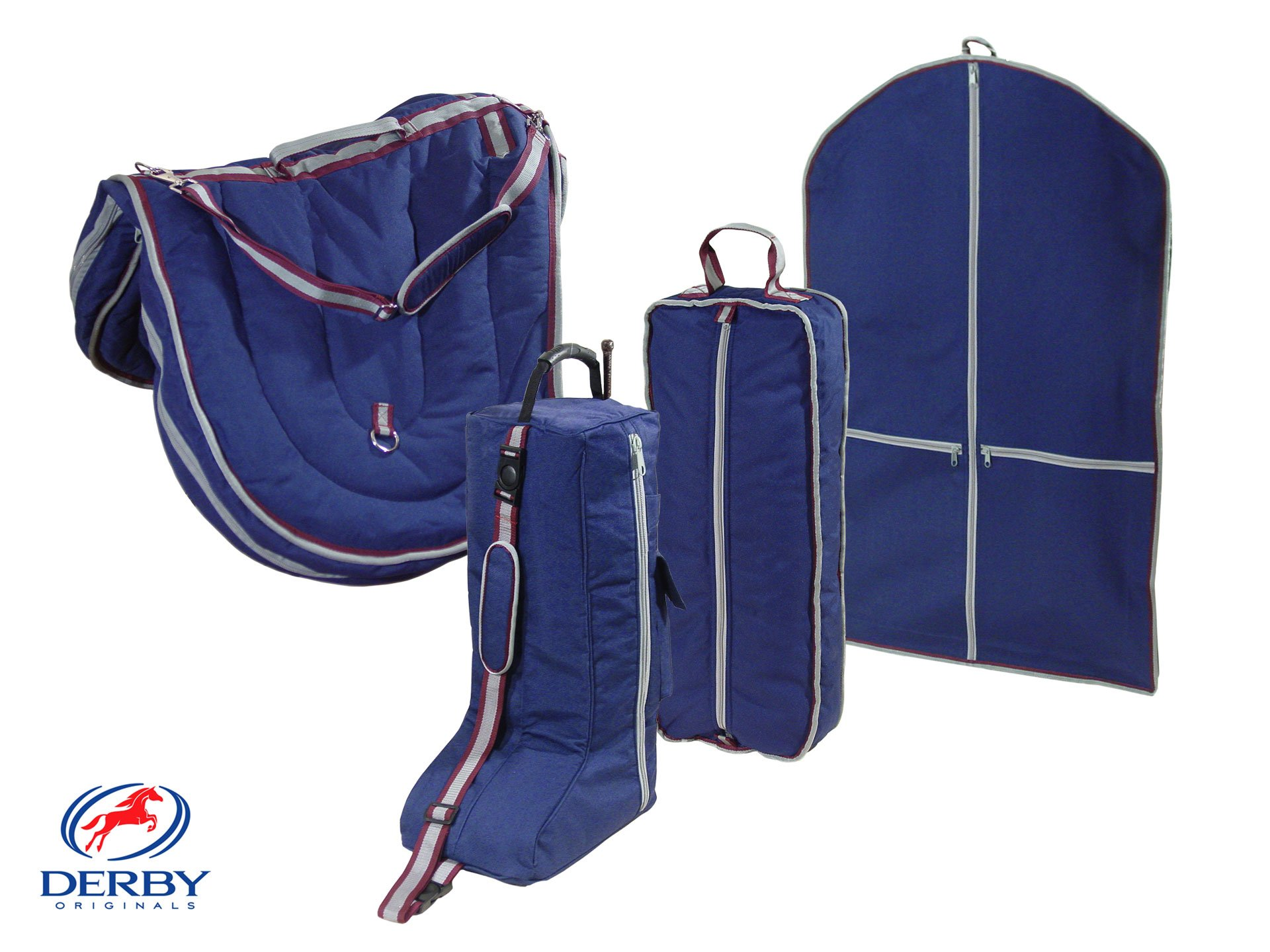 Derby English Horse Saddle, Bridle, Boot, and Garment Carry Bag Set with One year warranty