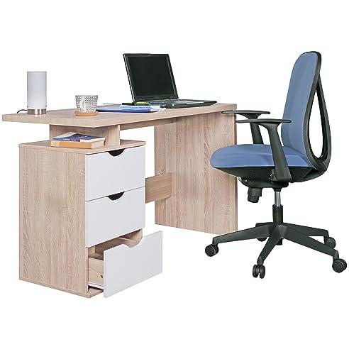 WOHNLING Schreibtisch Design Bürotisch Mit Schublade Sonoma/Weiß Tisch  Computertisch Mit Föcher Für Ablage 120