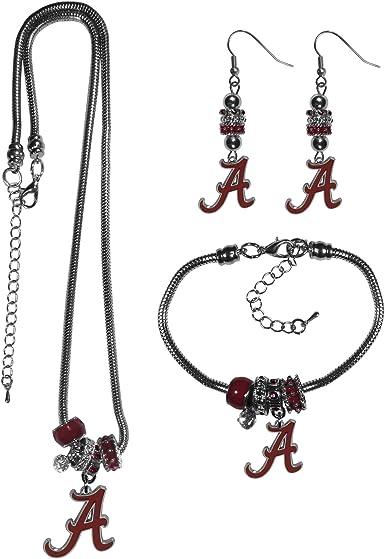 NCAA Siskiyou Sports Womens Alabama Crimson Tide Euro Bead Earrings and Necklace Set One Size Team Color