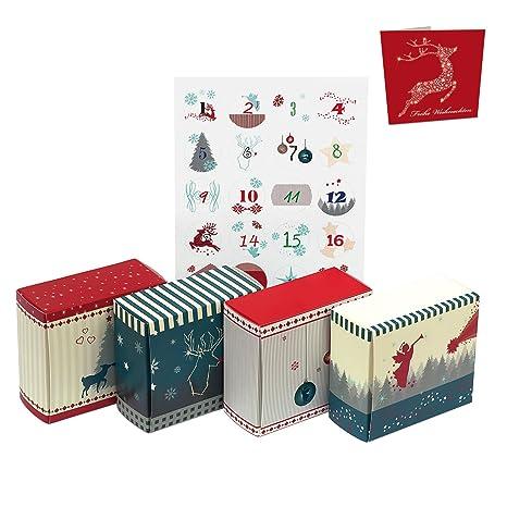 """Calendario de Adviento para rellenar """"24 cajas de Navidad Nordic"""" incluye 5 sobres"""
