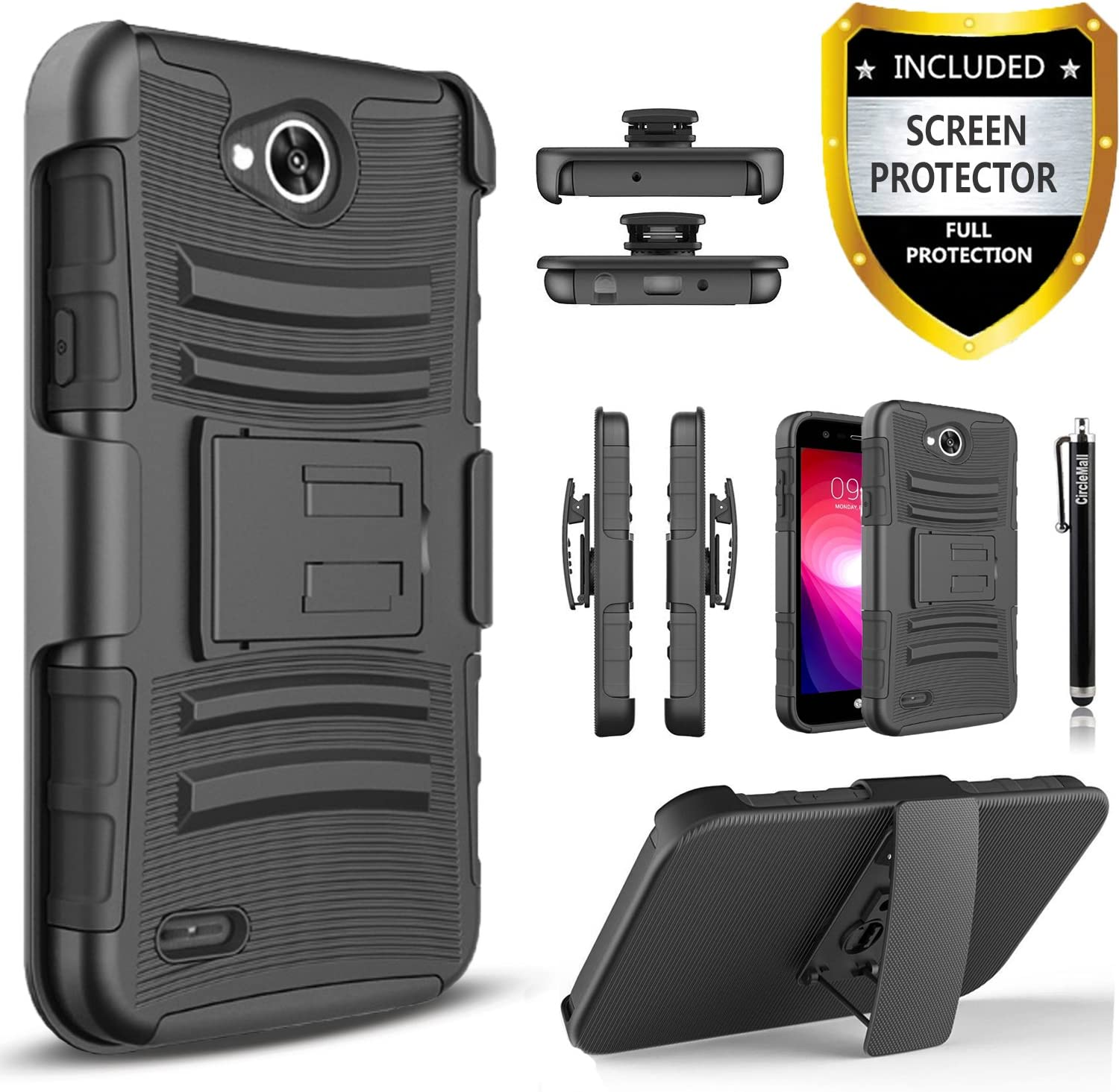 LG Fiesta 2 Phone Case, LG X Charge Case, LG X Power 2 Case, LG Fiesta LTE Case,Circlemalls [Combo Holster]Built-In Kickstand Bundled With [HD Screen Protector] Hybird Shockproof And Stylus Pen(Black)