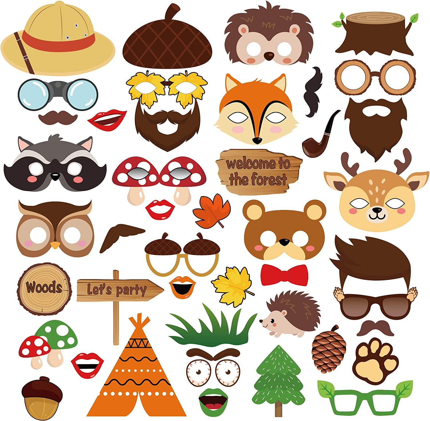 CC HOME 44CT Woodland Photo Booth Props,Forest Friend Animal Party Supplies for Boys,Girls,Wedding,Baby Shower,Forest Friend Animal Birthday Party