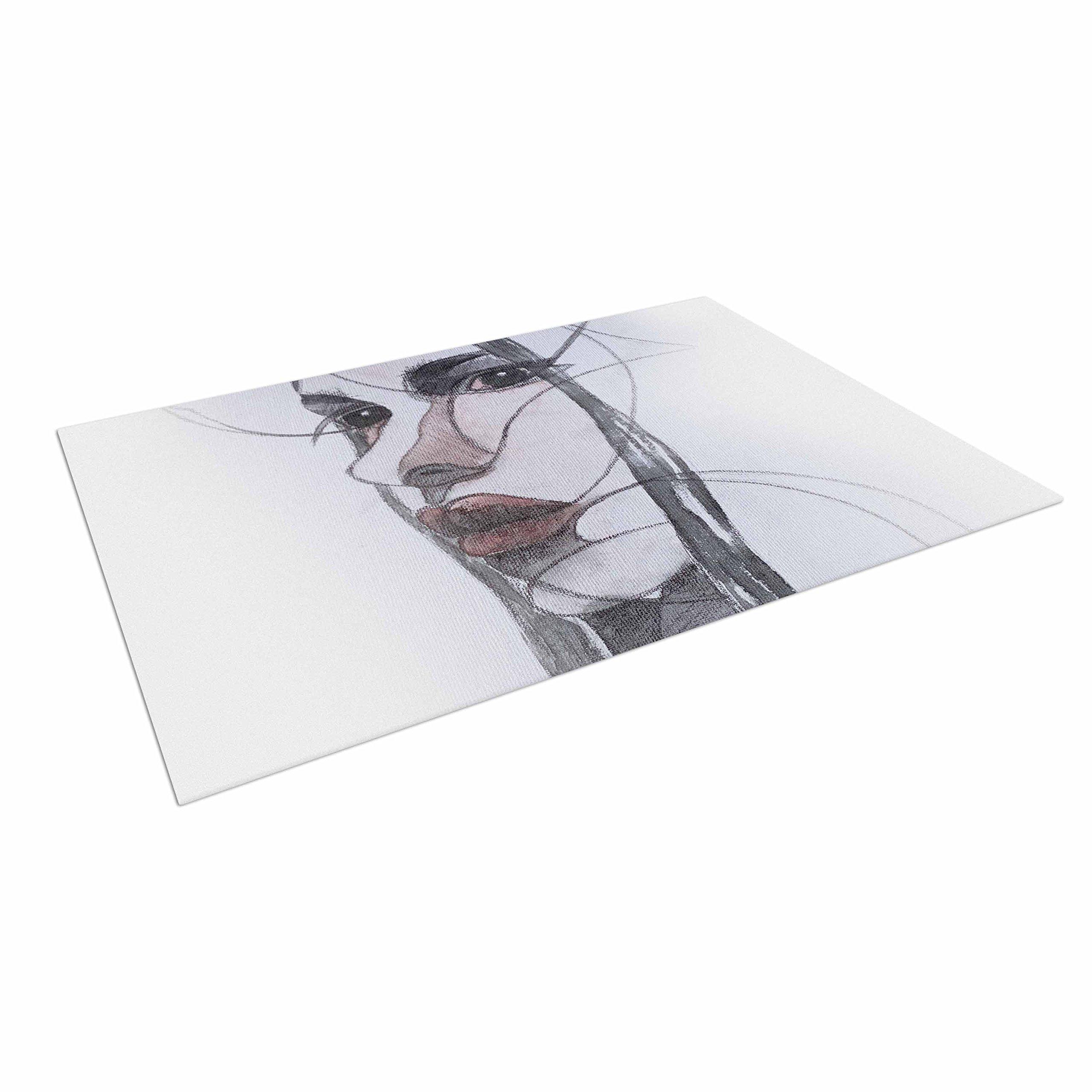 KESS InHouse Maria Bazarova ''Young Girl'' Red Black Outdoor Floor Mat, 4' x 5'