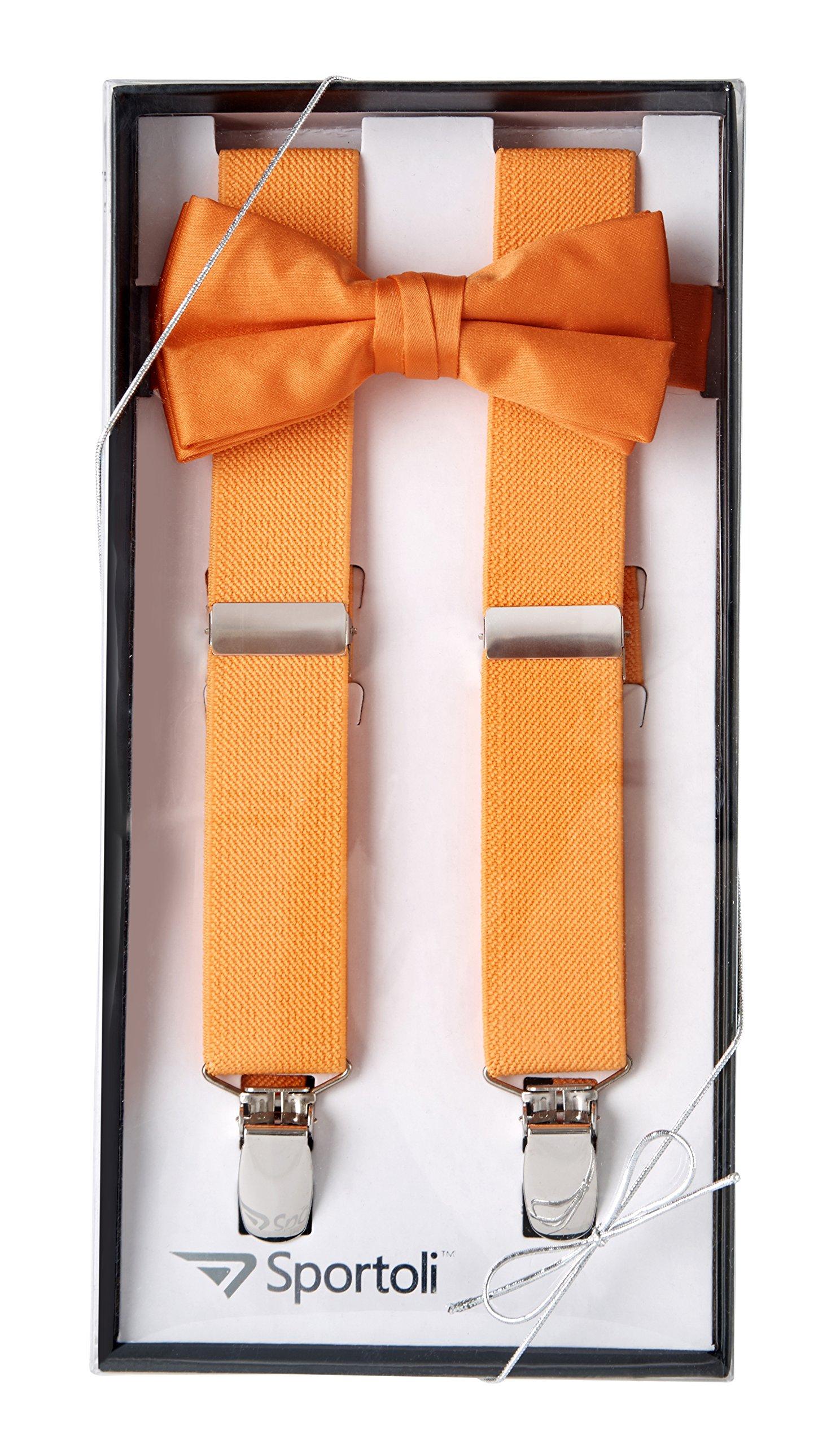 Suspenders for Kids Gift Set Wedding Tuxedo Genuine Leather Premium 1 Inch Suspender -Orange (26 Inch)