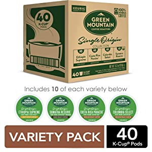 Green Mountain Coffee Single Origin Collection, Keurig Single-Serve Coffee K-Cup Pods, Variety, 40 Count