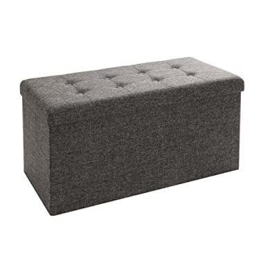 Seville Classics WEB284 Foldable Storage Bench/Footrest/Coffee Table Ottoman 31.5'' W x 15.7  D x 15.7  H Charcoal Grey
