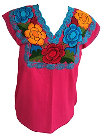 e5fb18a940d828 Casa Fiesta Designs Mexican Blouse - Embroidered - Authentic - Handmade -  Cotton - Pink (