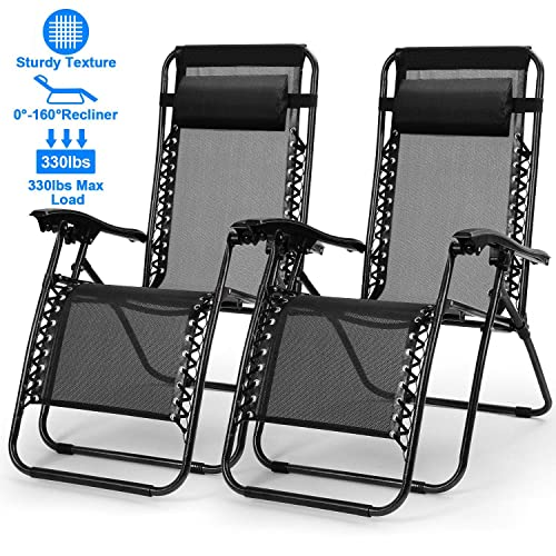 Zero Gravity Chair Adjustable Patio Lounge Chairs TeqHome Set of 2 with Pillow Beach Pool Outdoor Folding Reclining Chair-Black
