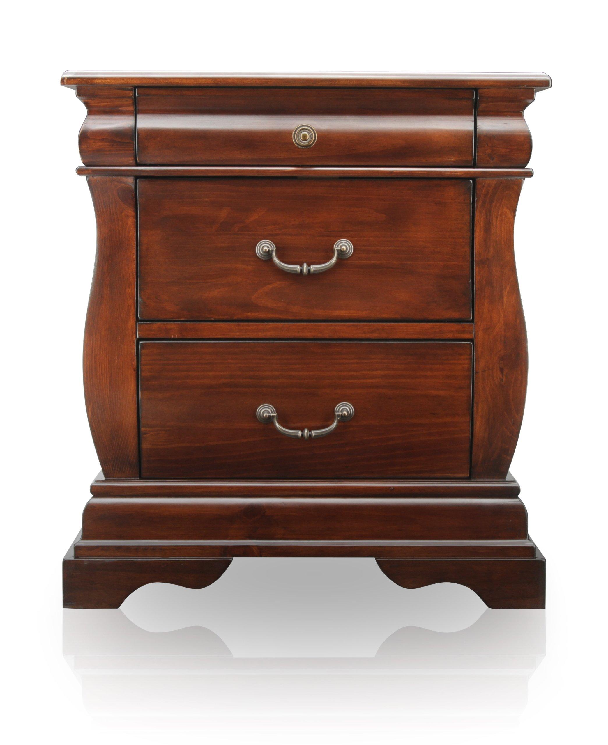Furniture of America Hendrike Curvy 3-Drawer Nightstand, Dark Walnut Finish