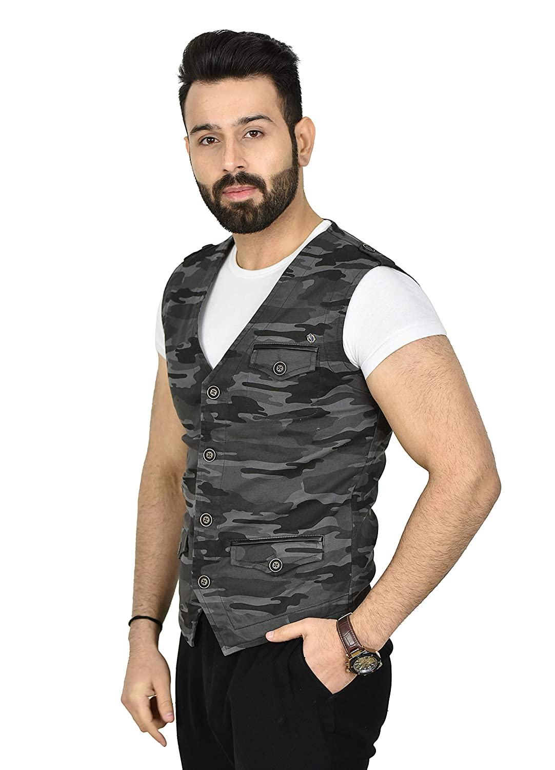 Urge Fashion Factory Mens Casual Camouflage Print Vest with Pockets