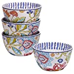 Certified International Tapas Canape Plate, 6.25-Inch, Assorted Designs, Set of 4