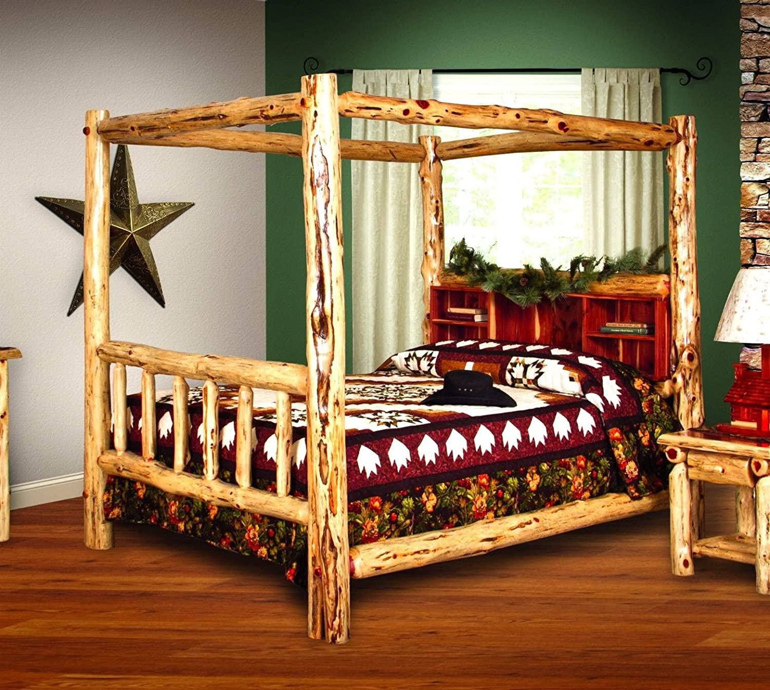 Amazon Com Rustic Red Cedar Log Bed King Size Canopy Bed Amish