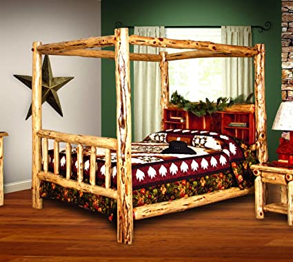 Charmant Rustic Red Cedar Log Bed  KING SIZE   Canopy Bed   Amish Made In USA