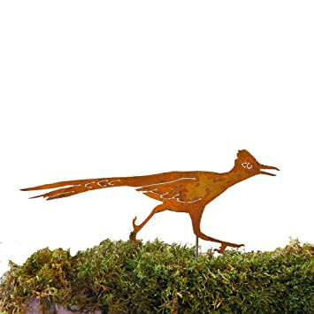 elegant garden design roadrunner stake steel silhouette with rusty patina