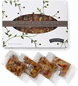 Grandma's Fruitcake Slices Individually Packaged in Gift Box | Old World Traditional Recipe with Fruit and Nut with No Green Citron or Other Bitter Candied Fruit 20 oz