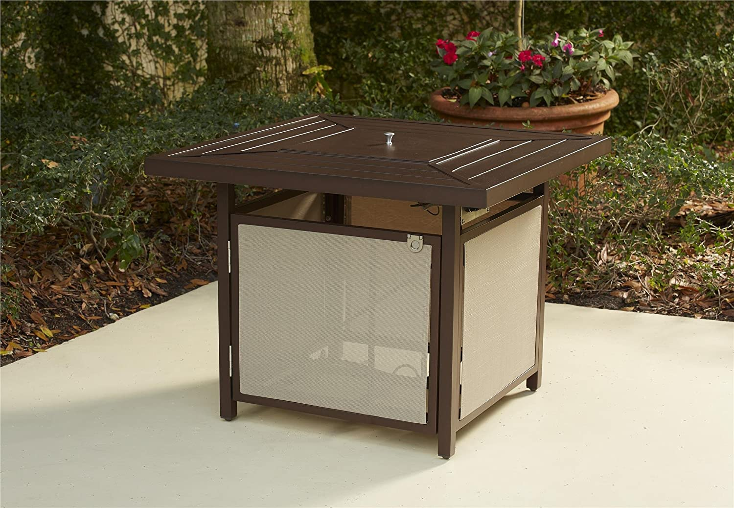 B077YDWY24 COSCO 88651SBTE Outdoor Living Stone Lake Patio Propane Fire Pit Table, Brown 814oTfpGDdL.SL1500_