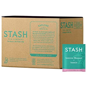 Stash Tea Jasmine Blossom Green Tea 100 Count Box of Tea Bags in Foil