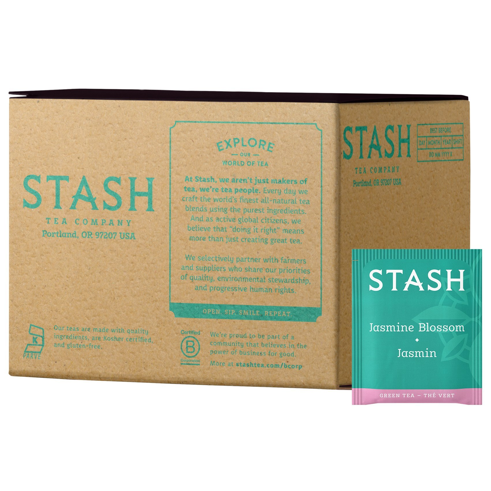 Stash Tea Jasmine Blossom Green Tea, 100 Count Box of Tea Bags in Foil (packaging may vary)