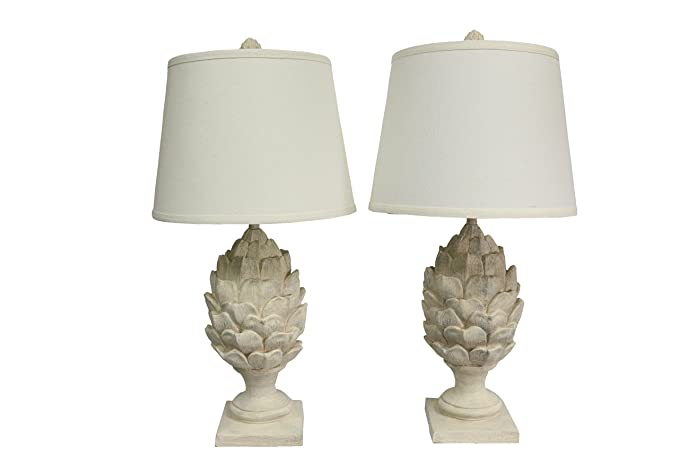 High Quality Urbanest Set Of 2 Artichoke Table Lamps, Weathered White