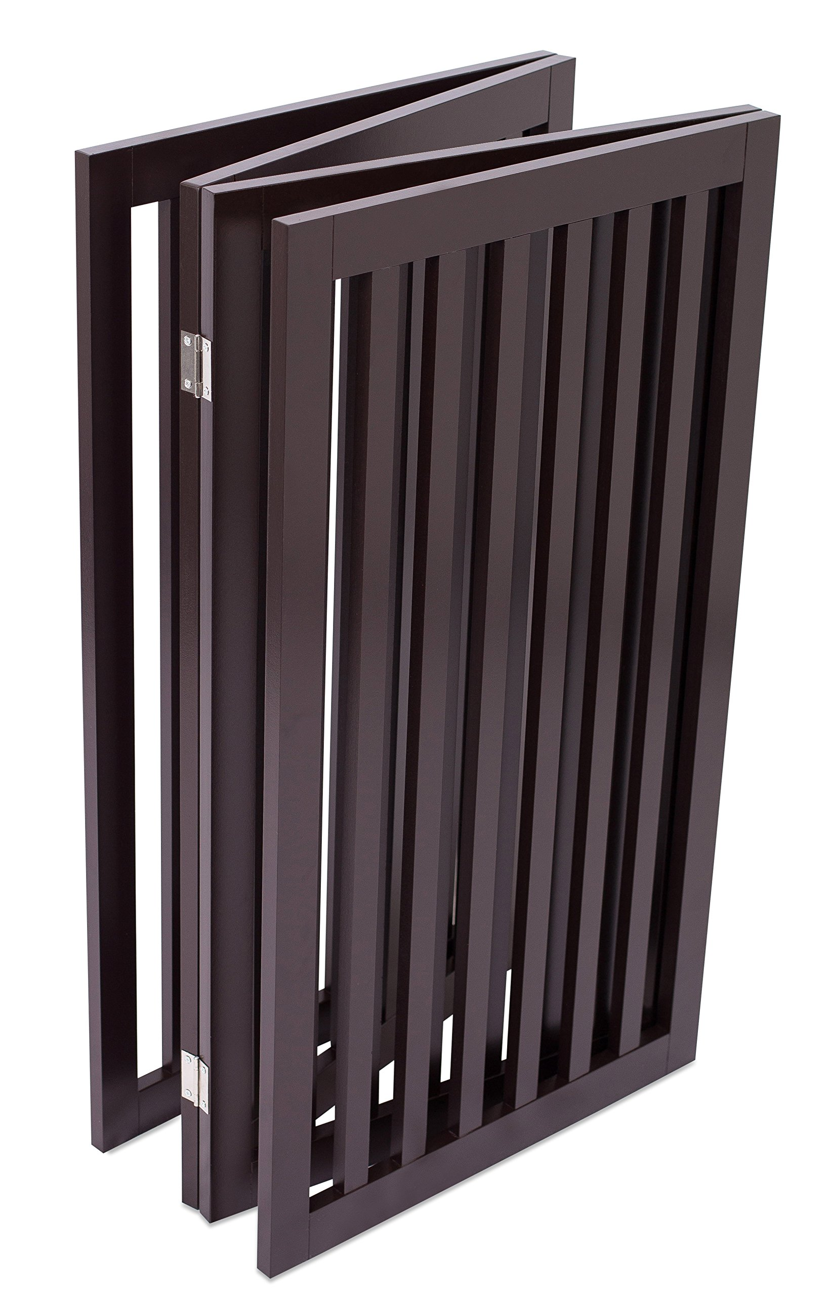 Internet's Best Traditional Pet Gate | 4 Panel | 36 Inch Tall Fence | Free Standing Folding Z Shape Indoor Doorway Hall Stairs Dog Puppy Gate | Fully Assembled | Espresso | Wooden by Internet's Best (Image #5)