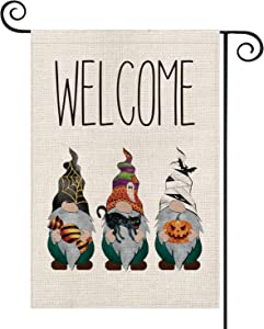 AVOIN Halloween Welcome Gnomes Bat Spider Web Jack-O'-Lantern Black Cat Garden Flag Vertical Double Sized, Candy Ghost Mummy Yard Outdoor Decoration 12.5 x 18 Inch