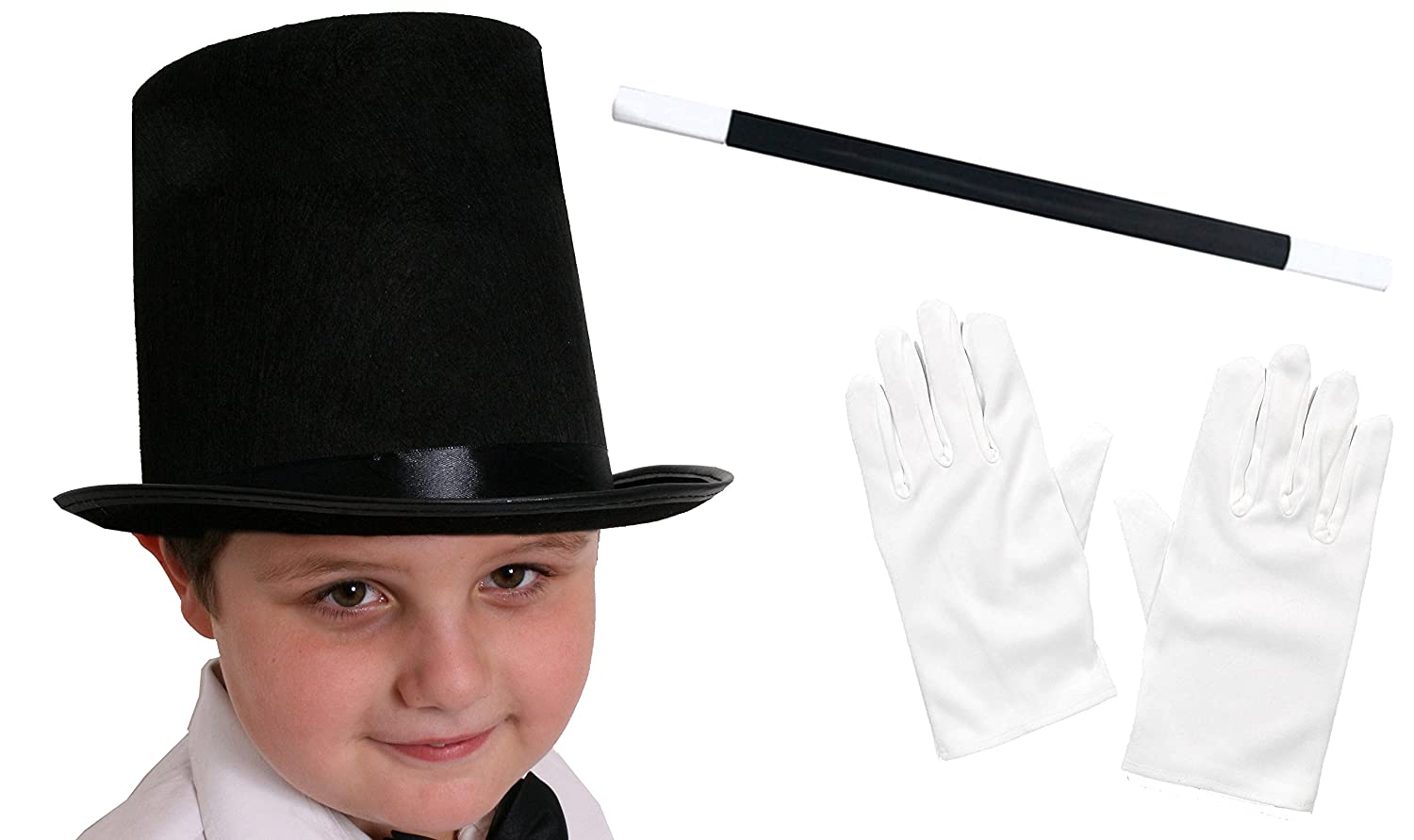 ILOVEFANCYDRESS® CHILDS MAGICIAN FANCY DRESS ACCESSORY COSTUME SET BLACK TOP HAT 55CM HEAD + MAGICIANS WAND + WHITE GLOVES KIDS MAGIC SET CHILD3PMAGSET