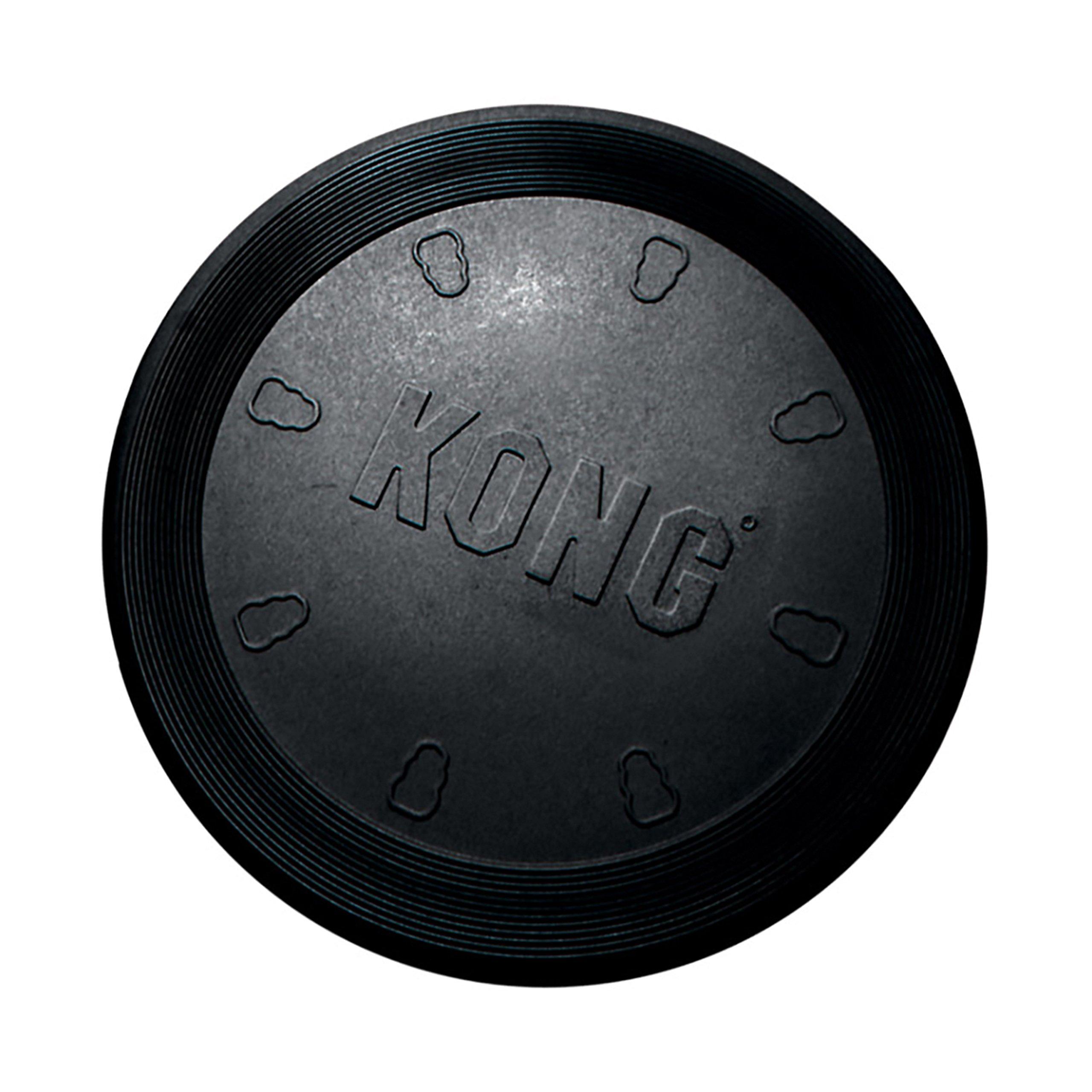 Kong Rubber Flyer, Large, Black Animal Dog Toys Frisbee Rubber Flexible Durable