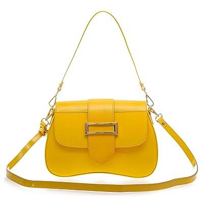 13703d11bbcf AURA Italian Made Yellow Patent Leather Small Crossbody Purse ...