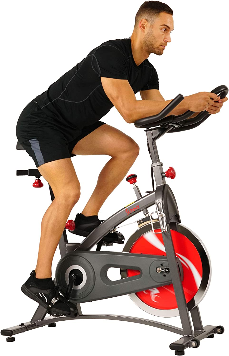 Sunny Health & Fitness Belt Drive Indoor Cycling Bike with LCD Monitor