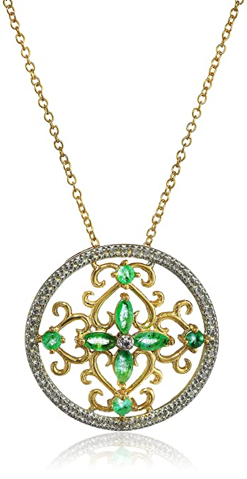 Amazon 18k yellow gold plated sterling silver genuine emerald 18k yellow gold plated sterling silver genuine emerald and diamond accent filigree medallion pendant 18quot aloadofball Choice Image