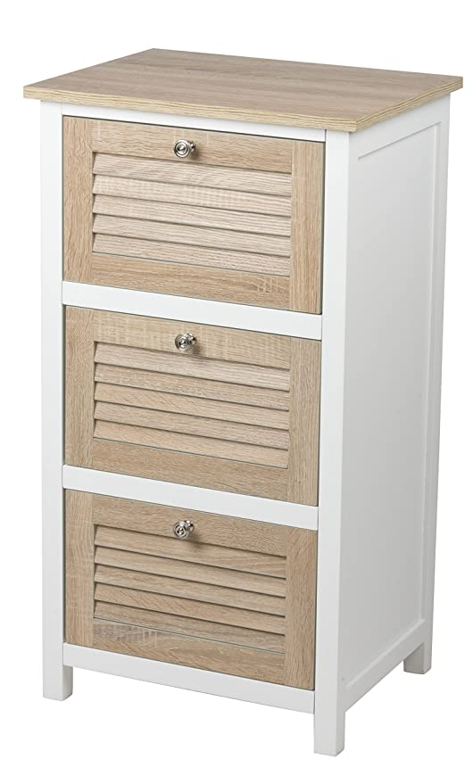 Stylehome Homestyle Ce2701005 Petit Meuble A 3 Tiroirs Blanc Chene