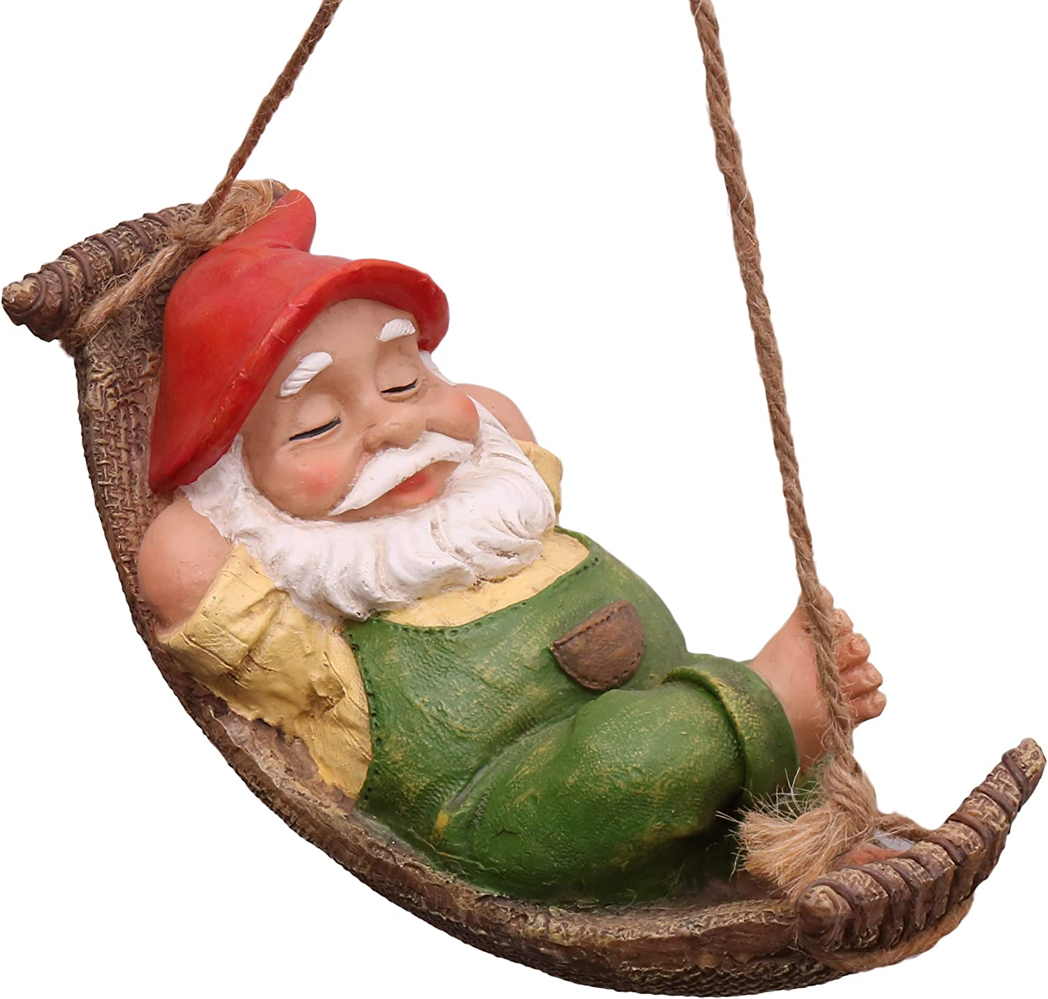 TERESA'S COLLECTIONS 7.3 Inch Funny Garden Gnomes Outdoor Hanging Statue, Fairy Garden Swinging Leaf Hammock Gnome for Lawn Patio Yard Decorations
