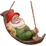 TERESA'S COLLECTIONS 7.4 Inch Funny Garden Gnomes Outdoor Hanging Statue, Fairy Garden Swinging Leaf Hammock Gnome for Lawn P