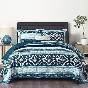 NEWLAKE Cotton Bedspread Quilt Sets-Reversible Patchwork Coverlet Set, Boho Chic Pattern,King Size