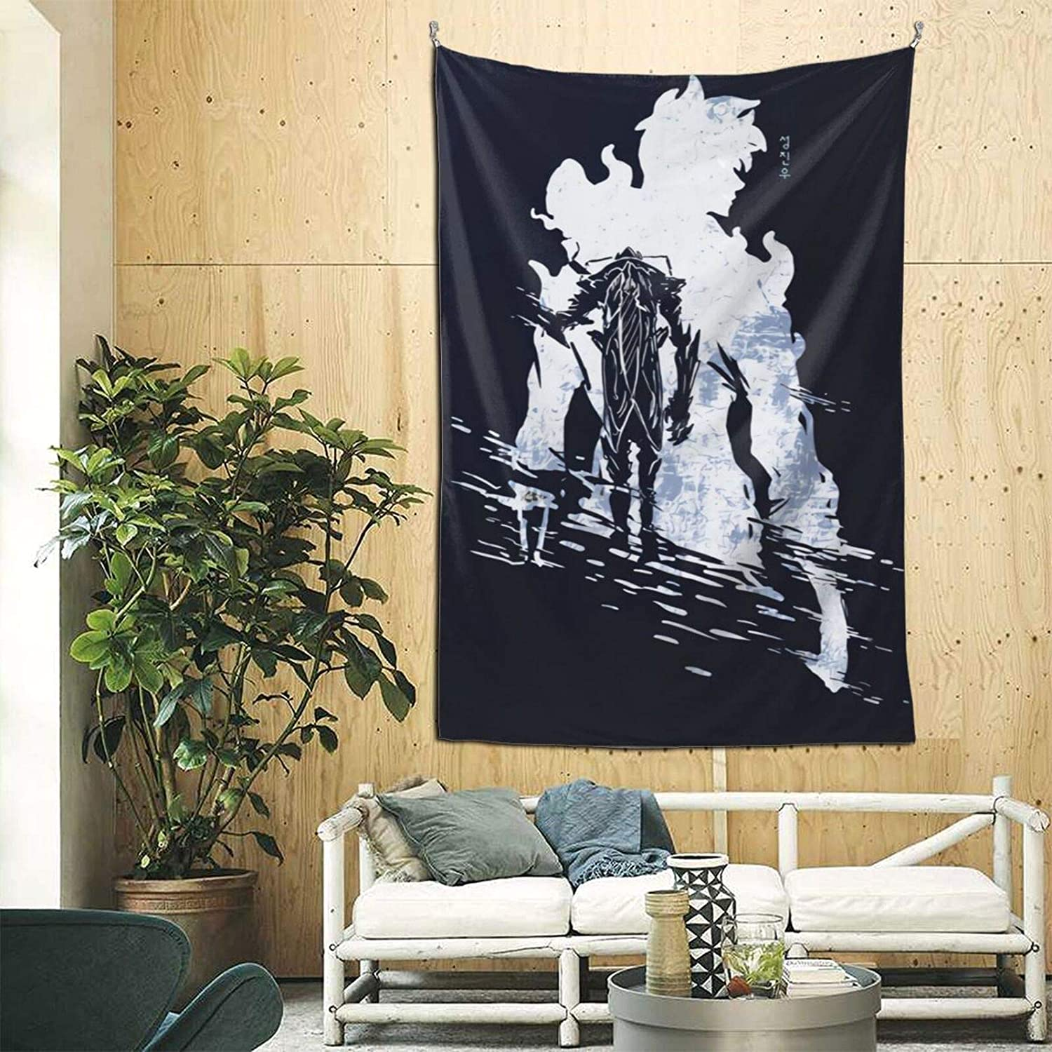 jkhhy Sung Jin-woo Arrival Text Solo Leveling Home Art Deco Tapestry Bedroom Living Room Tapestry Outdoor Picnic Blanket Beach Blanket 60 in X 90 in