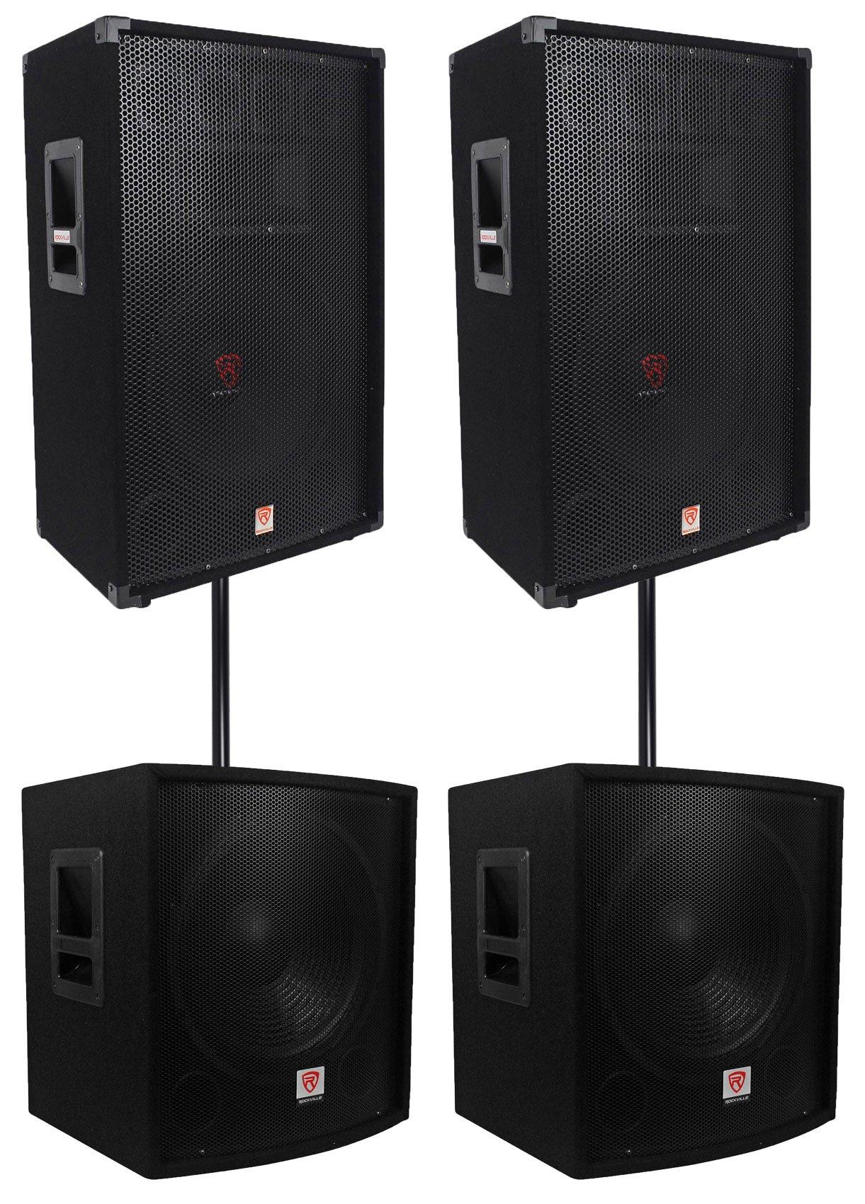 "(2) Rockville RSG15 15"" 3000w Passive DJ/Pro Audio PA Speaker+(2) 15'' Subwoofers"
