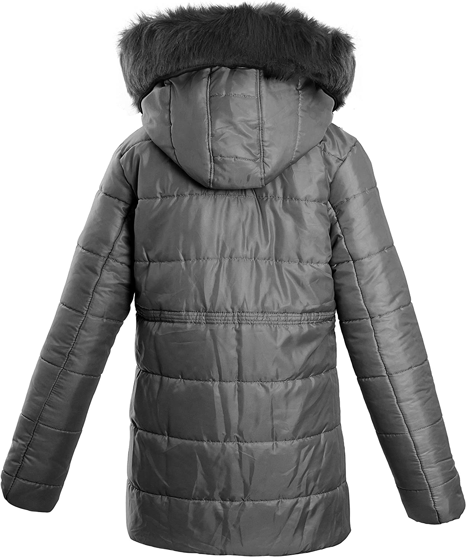 NEW Womens Padded Parka Coat Ladies Fur Hooded Jacket Sizes 8 10 12 14 16